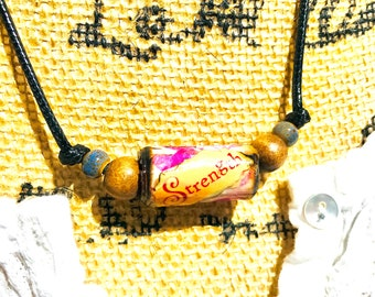 STRENGTH Bracelet, Rolled Paper Beads, Paper Bead Necklace, Inspiration Word Bead Necklace, Rolled Paper Word Bead, Paper Bead Jewelry