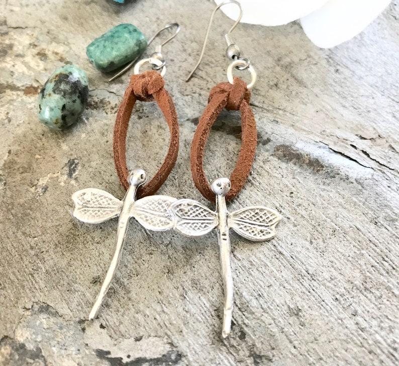 Dragonfly Earrings Silver Dragonfly Earrings Vegan Suede image 0
