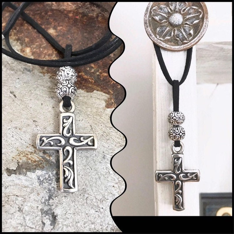 Large Sterling Cross Necklace Chunky Silver Necklace Edgy image 0