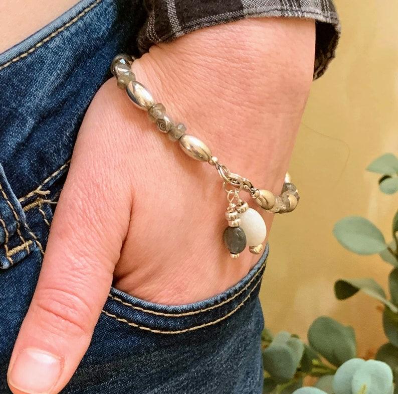 Sterling Silver Beaded Bracelet Labradorite Beaded Bracelet image 0