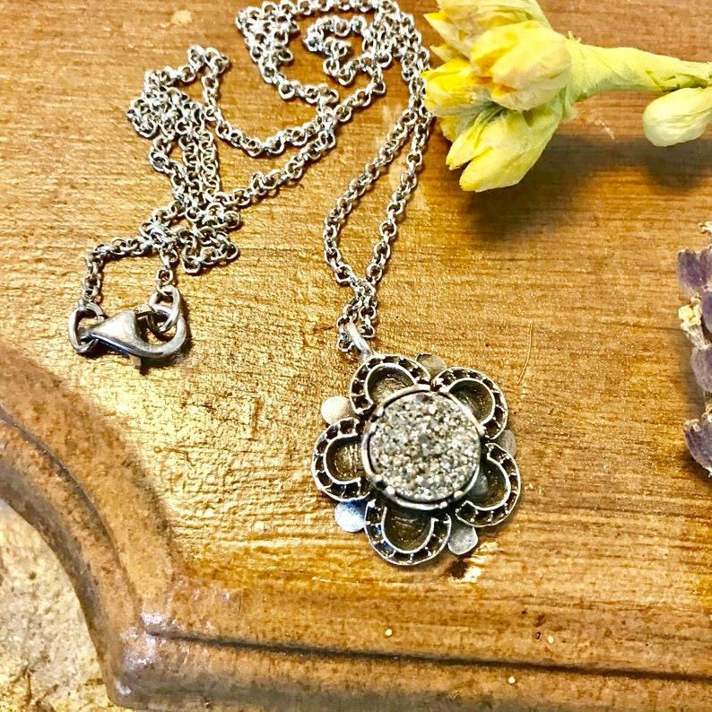 Druzy Agate Cabochon Pendant Necklace Platinum Druzy image 0
