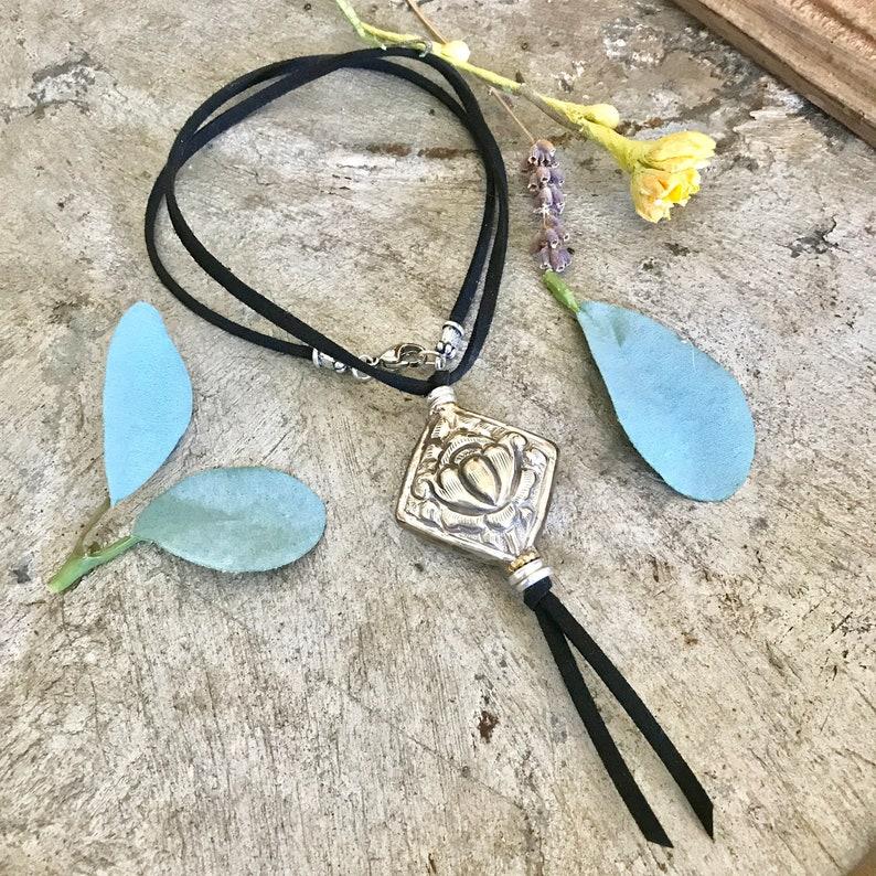 Tibetan Silver Lotus Flower Pendant Necklace Large Lotus image 0