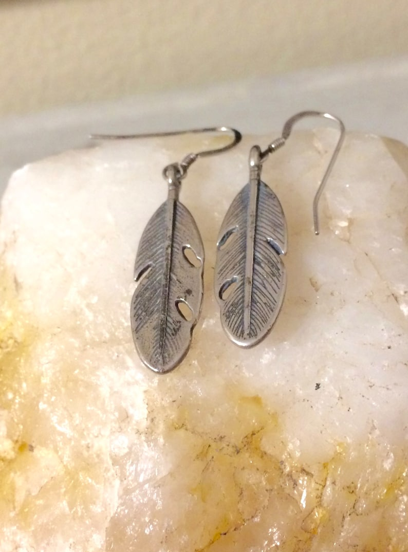 FEATHER Earrings Sterling Silver Feather Earrings Silver image 0