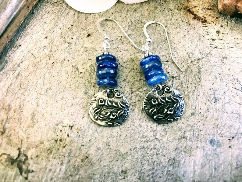 Blue Kyanite Beaded Earrings Blue Kyanite Dangle Earrings image 0