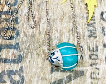 Tibetan Silver Capped Turquoise Bead Necklace,  Nepal Turquoise Bead Necklace, Turquoise Tibetan Bead Necklace, Ethnic Bead Necklace