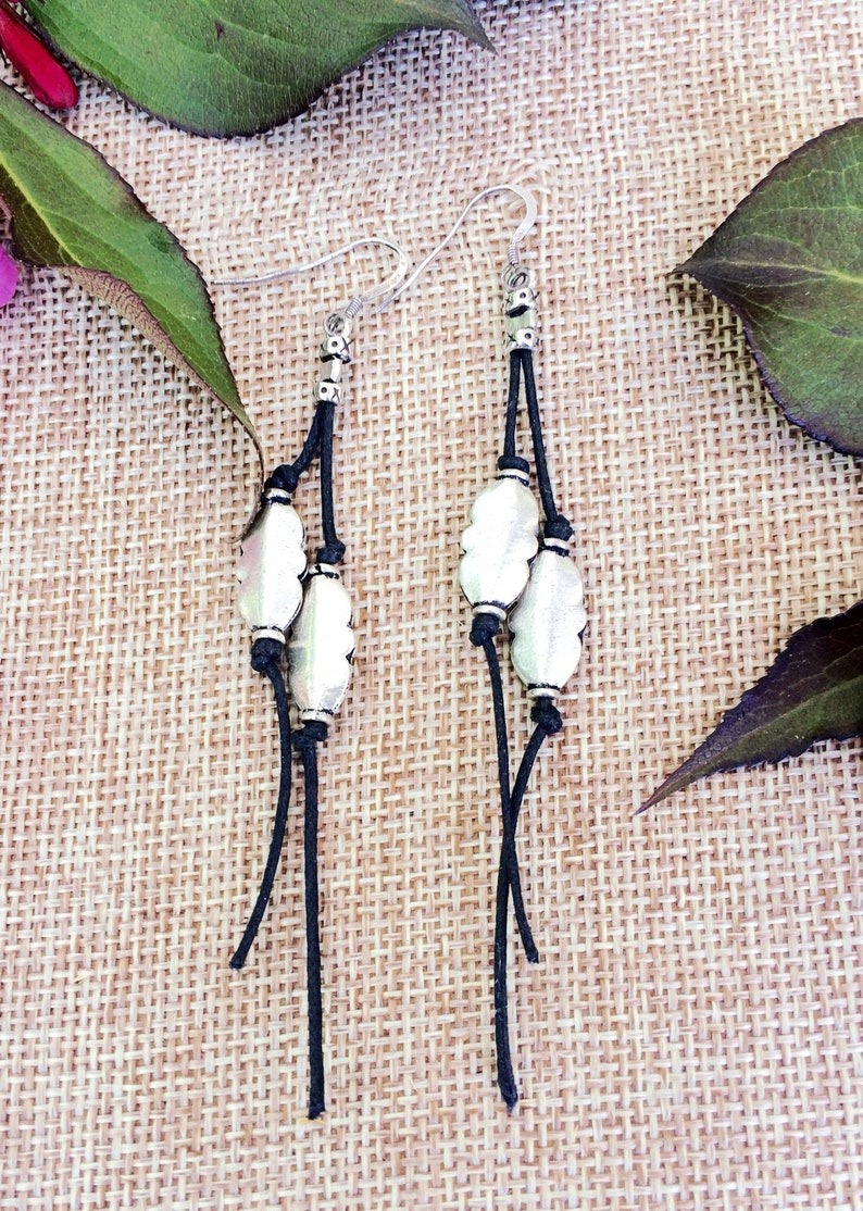 Cotton Cord Silver Earrings Silver and Black earrings image 0