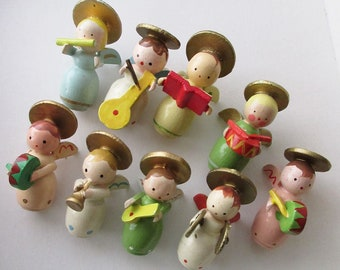 9 Italy Vintage Angel Band Musicians Erzgebirge Style Wooden Wood Hand Made Christmas Decorations Ornaments Angels