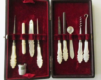 Vintage Victorian Lady's Mother Of Pearl Handles Traveling Sewing Kit And Manicure Vanity Set Original Case J.A. Henckels Germany