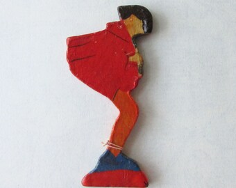 Vintage Christmas Erzgebirge East Germany Pied Piper Fretwork Flat Wooden Decoration Christmas GDR