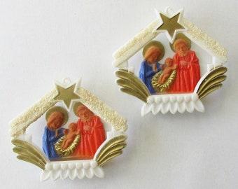 "2 Vintage Germany Christmas Nativity Scene Hard Plastic Mary Joseph Baby Jesus Decorationss Ornament 1950s 2-3/16"""