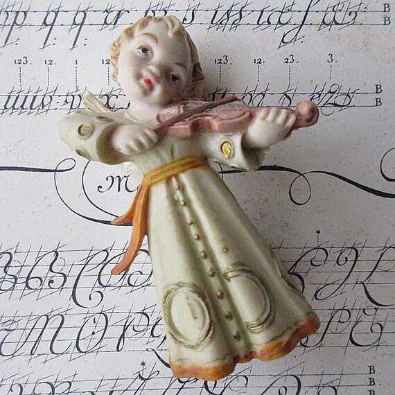 Figura Vintage Italia pesebre Natividad figura Angel con violín ...