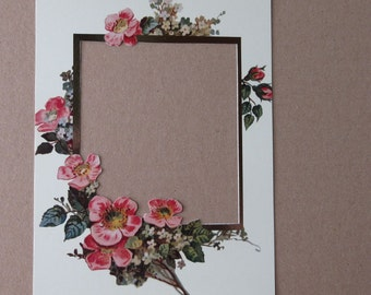 2 Photo Floral Fancy Vintage Look Pink Wild Roses Picture Mats 5x7 Inches