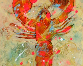 Single - Original Acrylic Lobster Painting by Carol Santora