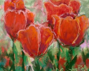 Red Tulips - Original Pastel Painting by Carol Santora, PSA