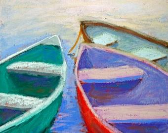 Heading North - Original Pastel Boat Skiff Painting by Carol Santora, PSA