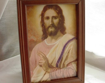 Vintage Lithograph Print Jesus Christ in Purple Robe Framed 4 by 6 inch