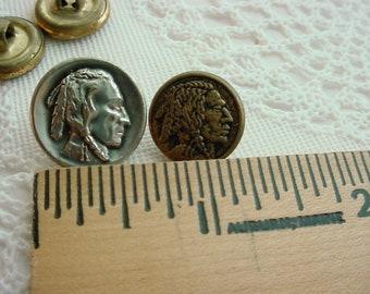 Vtg Metal Buttons Historic Motif Lot Of 4