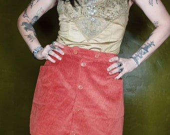 corduroy 70s style mini skirt with pockets