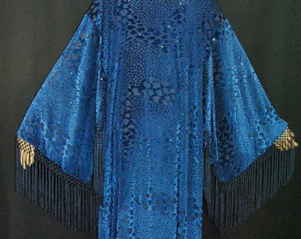 Beautiful Deep Blue Bohemian Gypsy Velvet Kimono Duster
