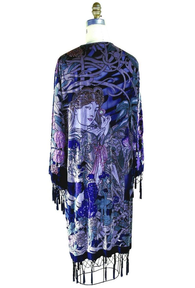 DeLuxe Indigo Blue Vintage Velvet/&Silk Beaded Mucha Bohemian Fabulous Kimono
