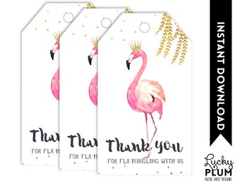 Flamingo Favor Tags / Flamingo Gift Tags / Flamingo Thank You Tags / Pink Gold Favor Tags / Watercolor Bird Willow *DIY Printable FG02
