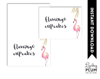 Flamingo Food Card / Flamingo Food Tent Card / Flamingo Place Card / Pink Gold Food Card / Watercolor Willow *DIY Printable FG02