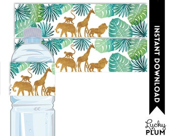Safari Water Bottle Label / Animal Water Bottle Label / Jungle Water Bottle Label / Safari Napkin Ring / Elephant Giraffe Lion Monkey SF01