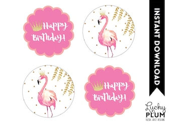 Flamingo Cupcake Toppers / Flamingo Round Labels / Flamingo Tags / Pink Gold Cupcake Toppers / Watercolor Willow / DIY Printable FG02