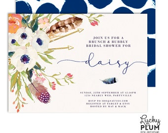 Brunch and Bubbly Invitation / Flower Bridal Shower Invitation / Bridal Shower Invitation / Boho Bridal Shower Invitation / Digital