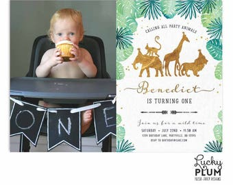 Gold Safari Birthday Invitation / Jungle Birthday Invitation / Wild Birthday Invitation / Zoo Invitation First Birthday Boy Gold SF01