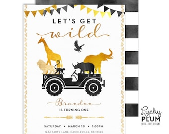African Safari Birthday Invitation / Wild One Birthday Invitation / Black Gold Jungle Birthday Invite / First Birthday Boho Chic SF03