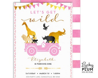 Pink Girl Safari Birthday Invitation / Wild Birthday Invitation / Jungle Birthday Invitation / Boho Chic Birthday / First Birthday
