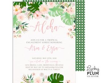 Tropical Engagement Invitation / Tropical Couples Shower Invitation / Luau Engagement Invitation / Luau Couples Shower / Aloha TP01