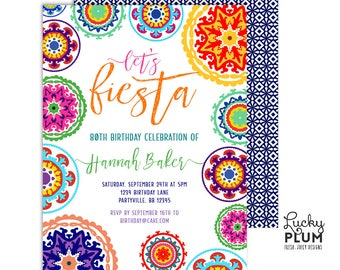 Fiesta Birthday Invitation / Mexican Birthday Invitation / Milestone Birthday Invitation / Tribal Boho / Printable Digital FT01