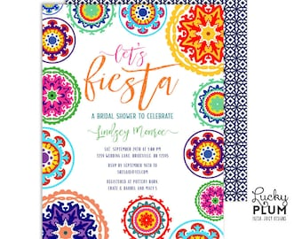 Fiesta Bridal Shower Invitation / Fiesta Engagement Invitation / Mexican Bridal Shower Invitation / Floral Bridal / Printable Digital FT01