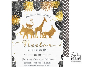 Black Gold Safari Birthday Invitation / Wild One Birthday Invitation / First Birthday Invite / Animal Jungle Zoo Boy Glam Classy GSF02