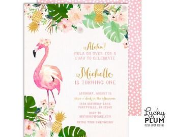 Luau Birthday Invitation / Pineapple Birthday Invitation / Flamingo Birthday Invitation / Tropical Birthday Invitation Summer Hawaiian Aloha