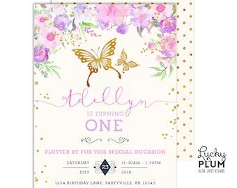 Butterfly Birthday Invitation / Butterfly Baby Shower Invitation / First Birthday Invitation / Pink Purple Birthday Invitation