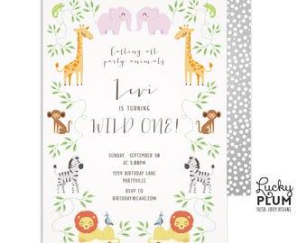 Noah's Ark Birthday Invitation / Safari Birthday Invitation / Jungle Birthday Invitation / Animal Zoo Wild One Elephant Lion Giraffe Monkey