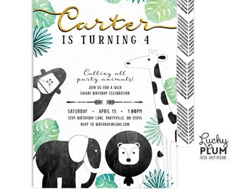 Jungle Birthday Invitation / Safari Birthday Invitation / Wild Birthday Invitation / Zoo Birthday Invitation /  First Birthday Boy Gold SF04