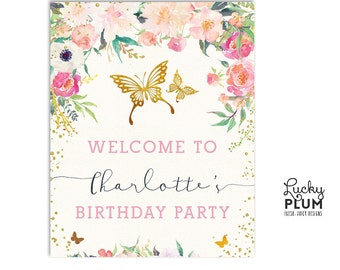 Butterfly Welcome Sign / Garden Welcome Sign / Flower Welcome Sign / Pink Gold Welcome Sign / Insect Welcome Sign / Garden Welcome Sign BY01