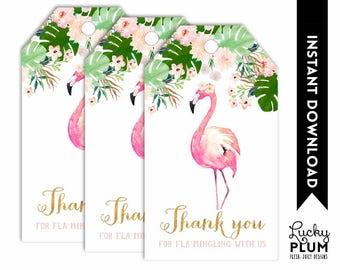 Flamingo Favor Tag / Tropical Favor Tag / Flamingo Gift Tag / Tropical Thank You Tag / Luau Floral Aloha Printable FG01