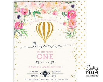 Hot Air Balloon Birthday Invitation / Up Up and Away Birthday Invitation / First Birthday Invitation / Floral Birthday Invitation / Digital
