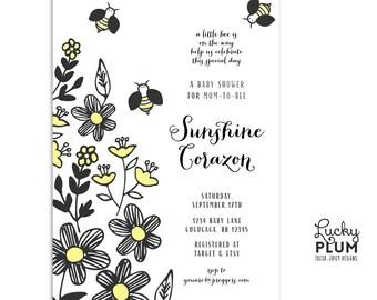 Bee Baby Shower Invitation / Modern Bee Baby Shower Invitation / Floral Baby Shower Invitation / Couples Baby Shower Invitation / Black