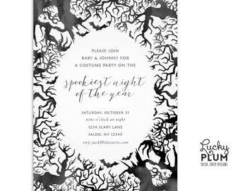 Halloween Invitation / Halloween Birthday Invite / Ghost Invite / Boo Invite / Chalkboard Invitation / Bat Birthday Invite / Digital file