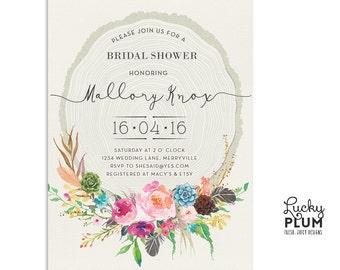 Flower Bridal Shower Invitation / Bridal Shower Invitation / Floral Bridal Shower Invitation / Boho Bridal Shower Invitation / Digital