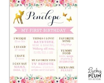 First Birthday Board / Deer Birthday Board / Woodland / Birthday Board / Butterfly Birthday Board / *Digital file DR01