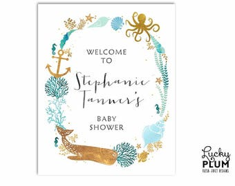 Whale Welcome Sign / Nautical Welcome Sign / Ocean Welcome Sign / Under the Sea Welcome Sign / Anchor Starfish Seashells Printable WH01