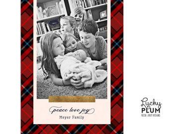 Plaid Christmas Photo Card / Modern Checkered Tartan Simple Holiday Family Greeting Card / Simple Xmas Religious Personalized Custom