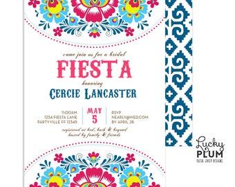 Fiesta Bridal Shower Invitation Mexican Floral Folk Art